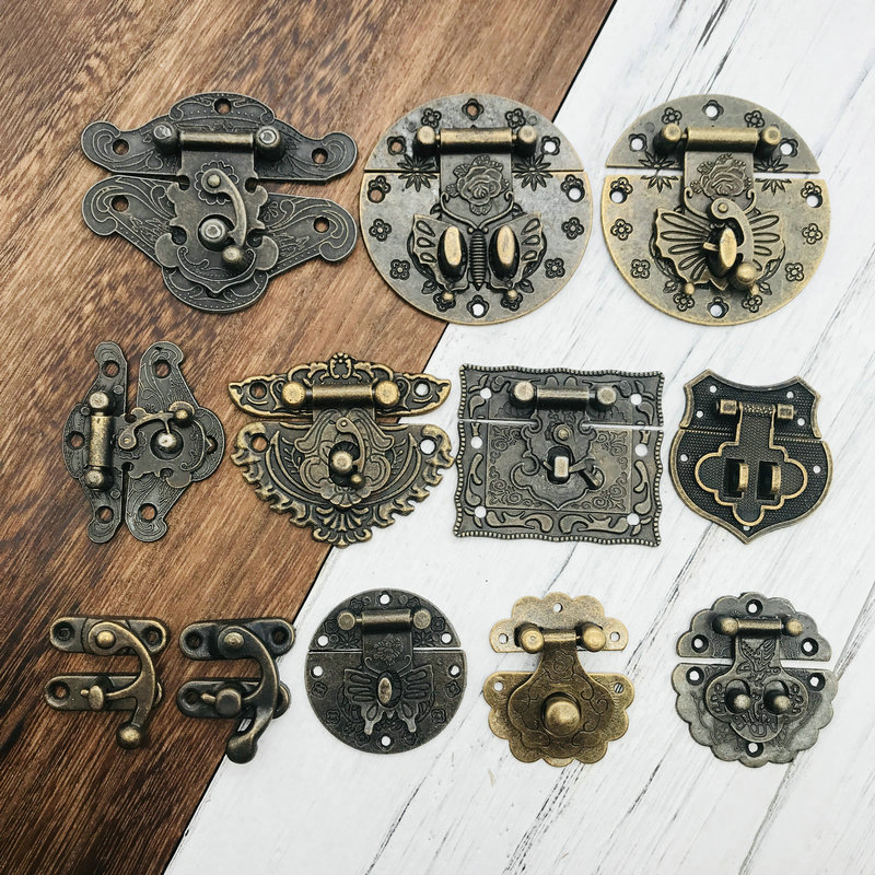 1x Antique Brass Wooden Case Hasp Vintage Style Decorative Jewelry Gift Box Suitcase Hasp Latch Hook Furniture Buckle Clasp Lock