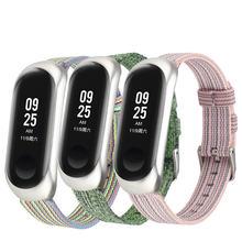 Ремешок нейлоновый для xiaomi mi band 4 5 3 спортивный браслет