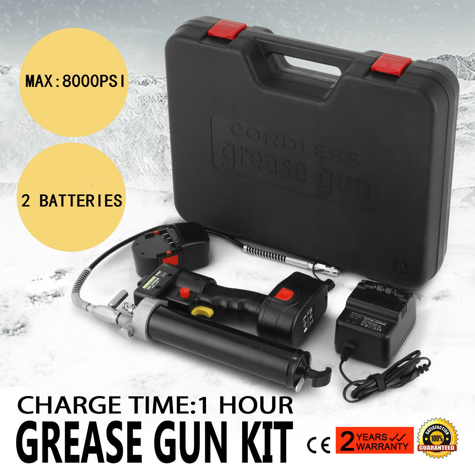 2019 New Electrical Grease Gun Cordless Battery 18V 107cm 8000PSI Heavy + 2 Batteries