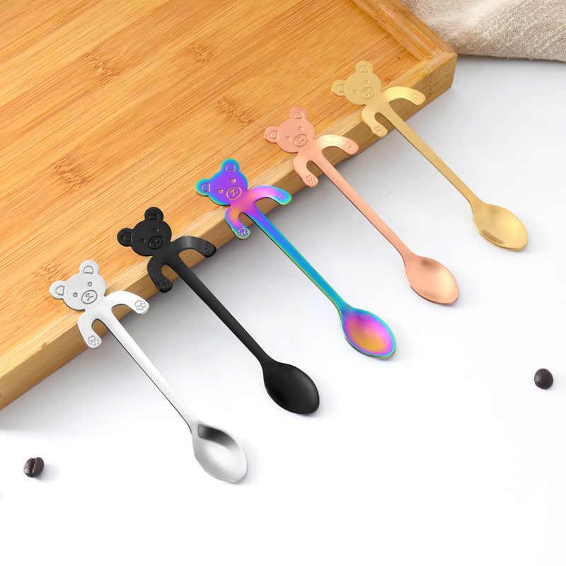 Aço inoxidável gato dos desenhos animados pendurado copo colher colher de café caneca colher de chá sobremesa sorvete colher de chá utensílios de mesa