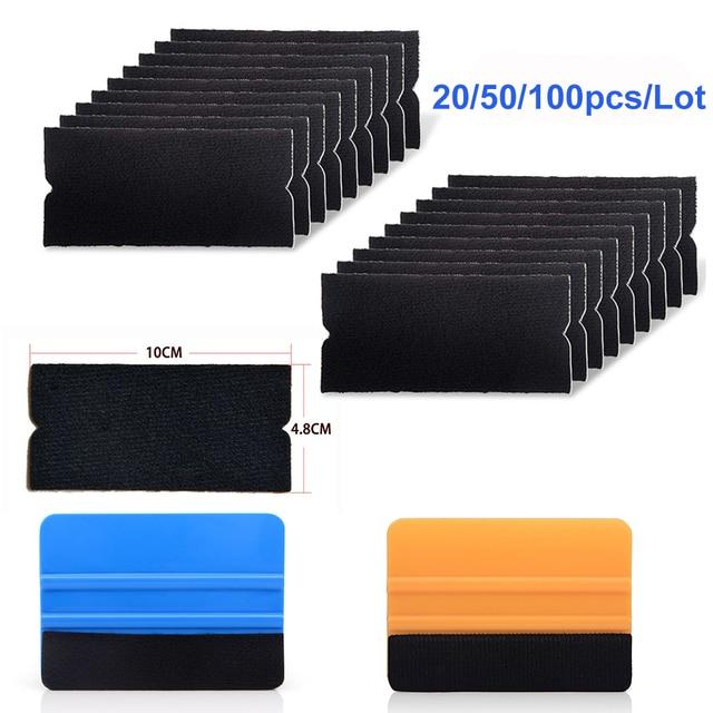 EHDIS 20/50/100pcs 펠트 직물 천을 10cm 스퀴지 탄소 섬유 비닐 자동차 포장 없음 스크래치 스크레이퍼 창 색조 포장 도구