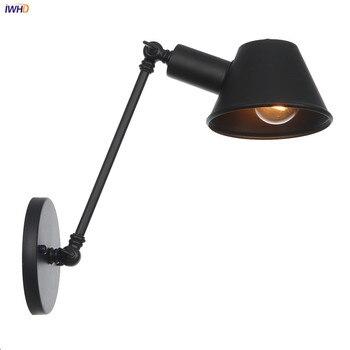Lámpara de pared IWHD negra de un solo brazo oscilante para dormitorio, escalera, al lado del Loft, lámpara de pared Industrial Vintage, candelabro de estilo Edison, iluminación LED