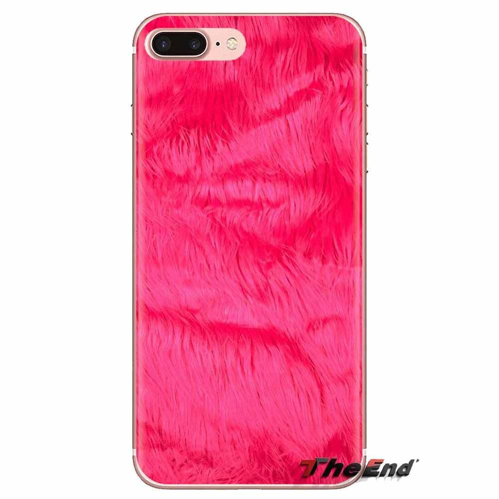 Iphone XS 最大 XR × 4 4S 5 5S 5C SE 6 6S 7 8 プラスサムスンギャラクシー J1 J3 J5 J7 A3 A5 ふわふわ毛皮ピンクプリント甘い TPU ケースカバー
