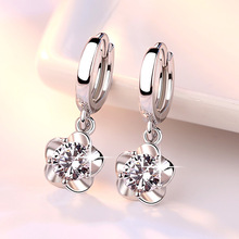 High Quality Silver Color Earrings Fashion Crystal stud zircon earring Women Jewelry