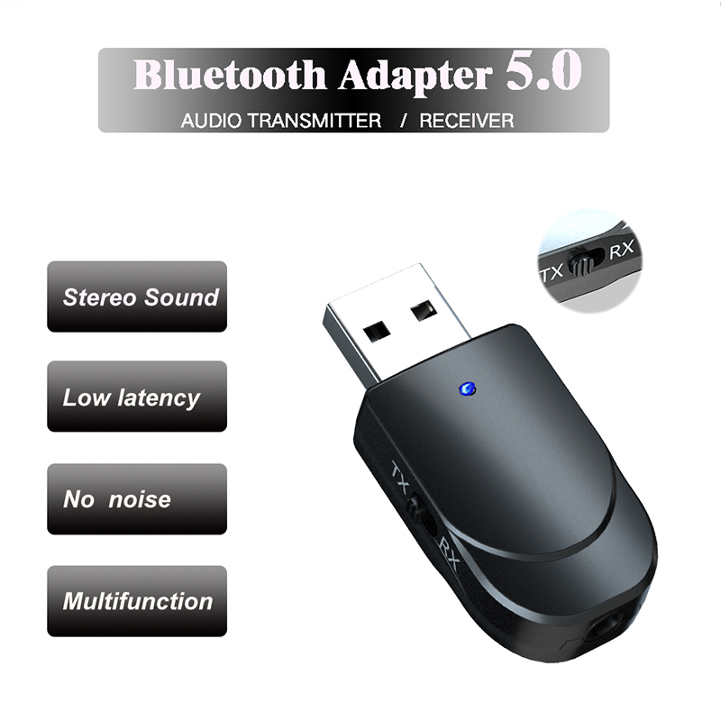 2 IN 1 Bluetooth Receiver Transmitter Mini Bluetooth 5.0 Audio AUX RCA USB 3.5mm Jack For TV PC Car Kit Wireless Adapter Black