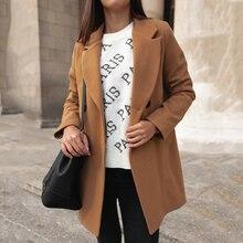 2019 New Arrival Wool Blend Coat Women Long Sleeve Turn-down