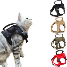 Arnês militar tático para gatos colete de náilon ajustável andando treinamento respirável pet collar roupas para gatos acessórios
