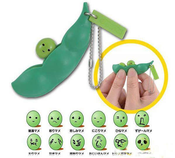 Venda quente Engraçado Paródia Tricky Brinquedo Stress Chaveiro Bola De Tédio Lotado Edamame Chaveiro Dom de Alívio de Pressão