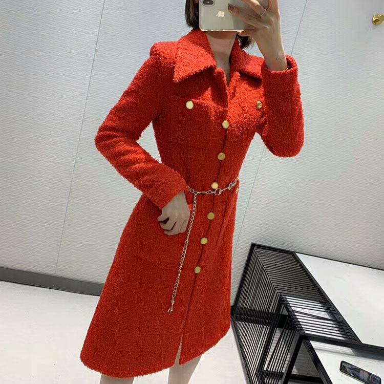 2019 automne et hiver nouvelle mode dames en trois dimensions coupe rouge Long manteau livraison gratuite dans le monde entier - 4