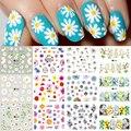 Маргаритки Цветочные наклейки для ногтей и наклейки летние цветы подсолнуха вишни Дельфин водяной знак слайдер для маникюра Декор SAA1645-1656