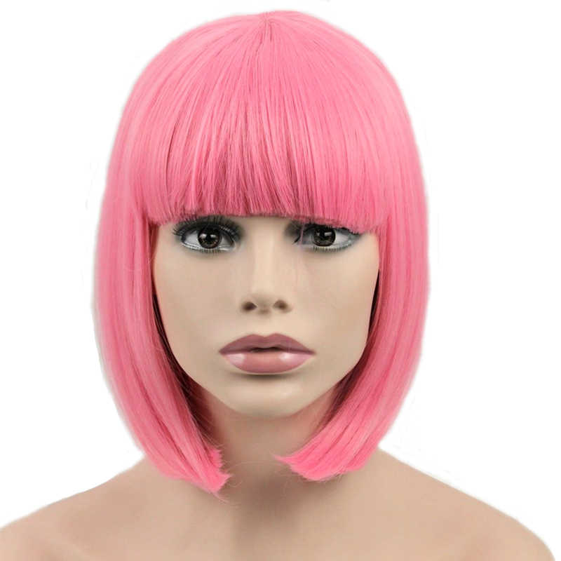 JOY&BEAUTY Hair Short Bob Straight Wig Synthetic Hair Cosplay Wig High Temperature Fiber Pink Long 12inch Women Wigs
