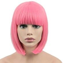 الفرح والجمال الشعر القصير بوب مستقيم شعر مستعار الاصطناعية شعر مستعار تأثيري ارتفاع درجة الحرارة الألياف الوردي طويل 12 بوصة المرأة الباروكات