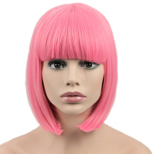 JOY&BEAUTY Hair Short Bob Straight Wig Synthetic Hair Cosplay Wig High Temperature Fiber Pink Long 12inch Women Wigs