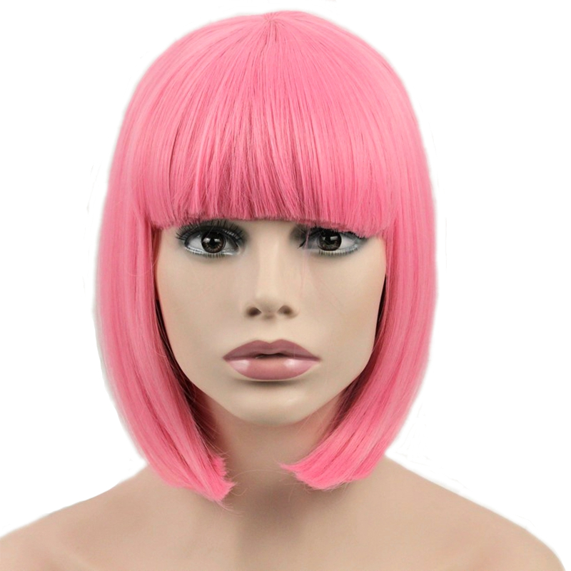 JOY&BEAUTY Hair <font><b>Short</b></font> Bob Straight <font><b>Wig</b></font> Synthetic Hair Cosplay <font><b>Wig</b></font> High Temperature Fiber <font><b>Pink</b></font> Long 12inch Women <font><b>Wigs</b></font> image
