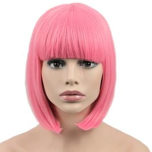 Image 1 - NIỀM VUI & LÀM ĐẸP Tóc Ngắn Bob Thẳng Tóc Giả Tóc Tổng Hợp Hóa Tóc Giả Sợi Nhiệt Độ Cao Hồng Dài 12inch Nữ bộ tóc giả
