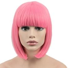 SEVINÇ ve GÜZELLIK Saç Kısa Bob Düz Peruk Sentetik Saç Cosplay Peruk Yüksek Sıcaklık Fiber Pembe Uzun 12 inç Kadınlar peruk