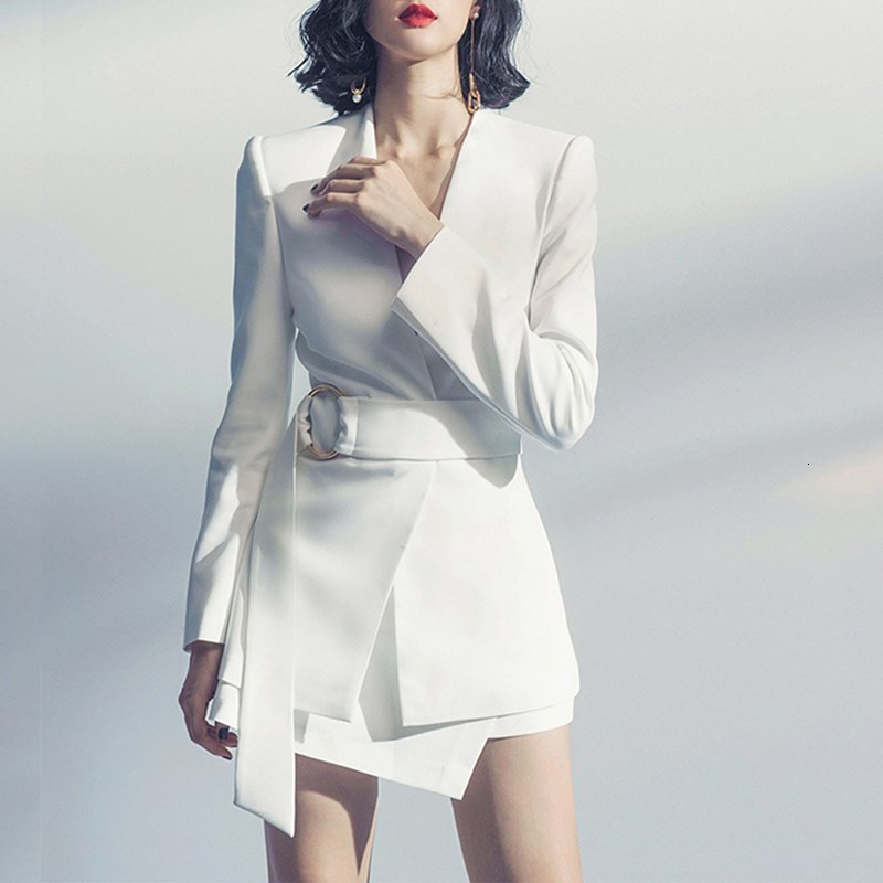 2019 Autumn Women Long Jackets Blazer And Asymmetric Mini Skirts Office Sets White Plus Size 2 Pieces Work Suits