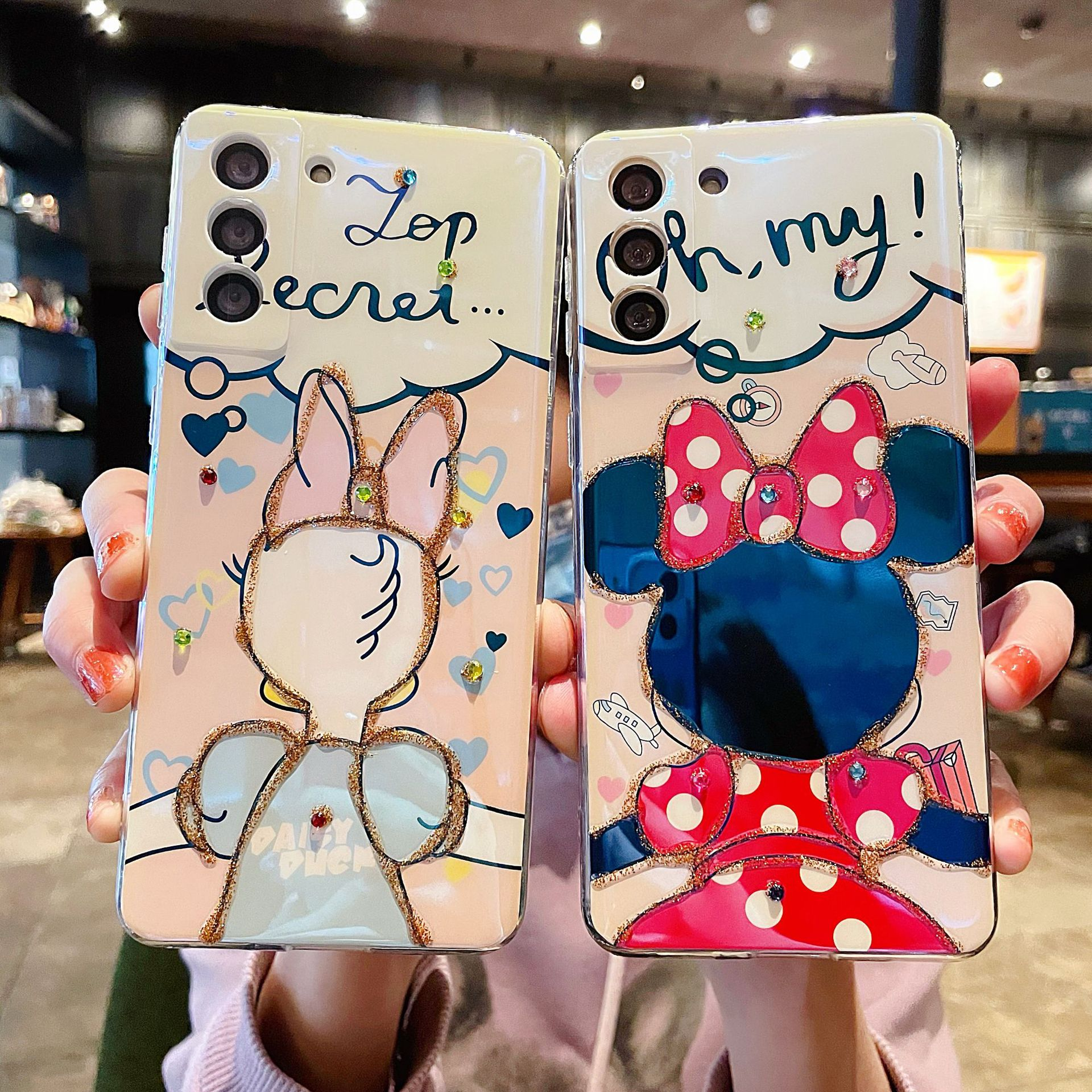 Minnie Daisy Soft Case For Samsung Galaxy S21 Ultra S20 FE S20 S10 Plus Note 20 Plus Back Cover Rhinestone TPU Coque Cell