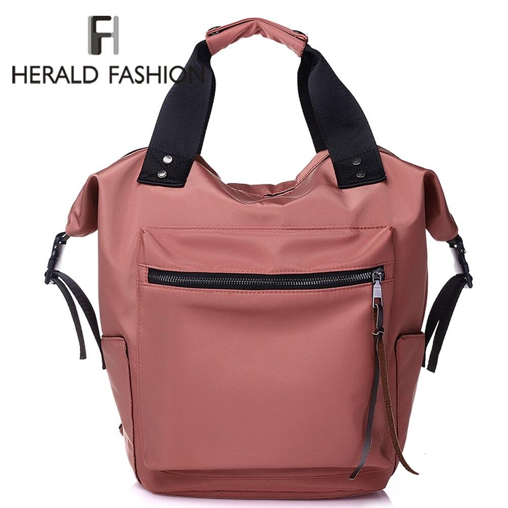 Herald Nylon Backpack Women Casual Backpacks Ladies Waterproof High Capacity Back To School Bag Teenage Girls Travel Students