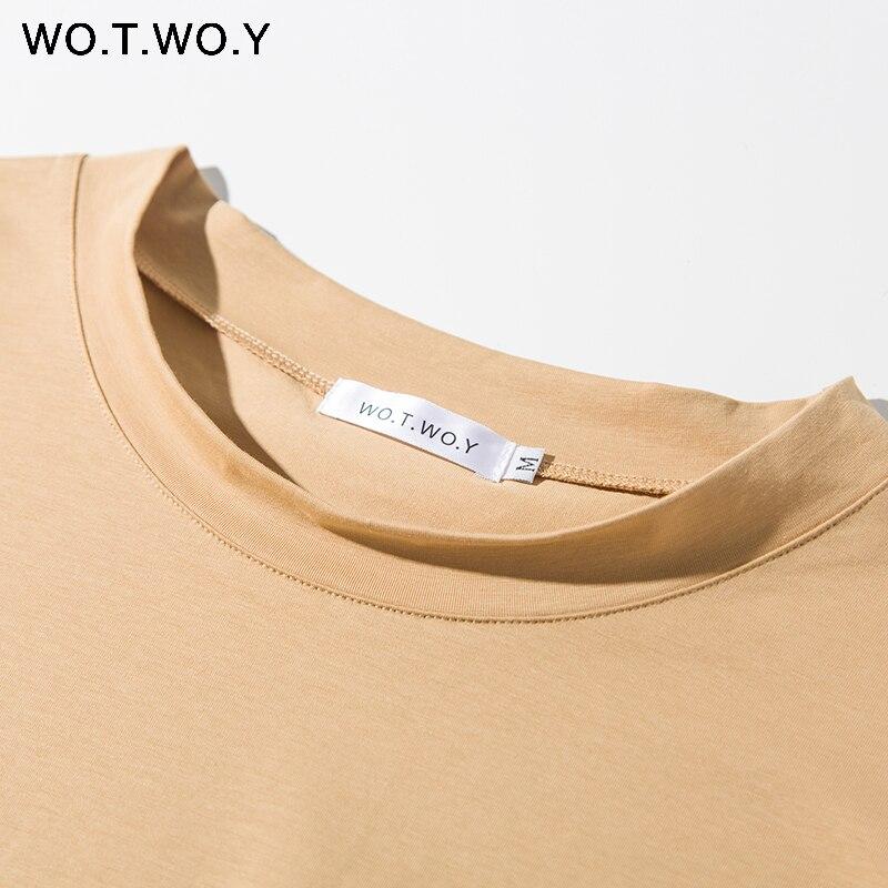 WOTWOY Solid Casual Basic T-shirt Women 2020 Summer Short Sleeve Knitted Cotton Tee Shirt Women Black White Korean Top Femme New 4