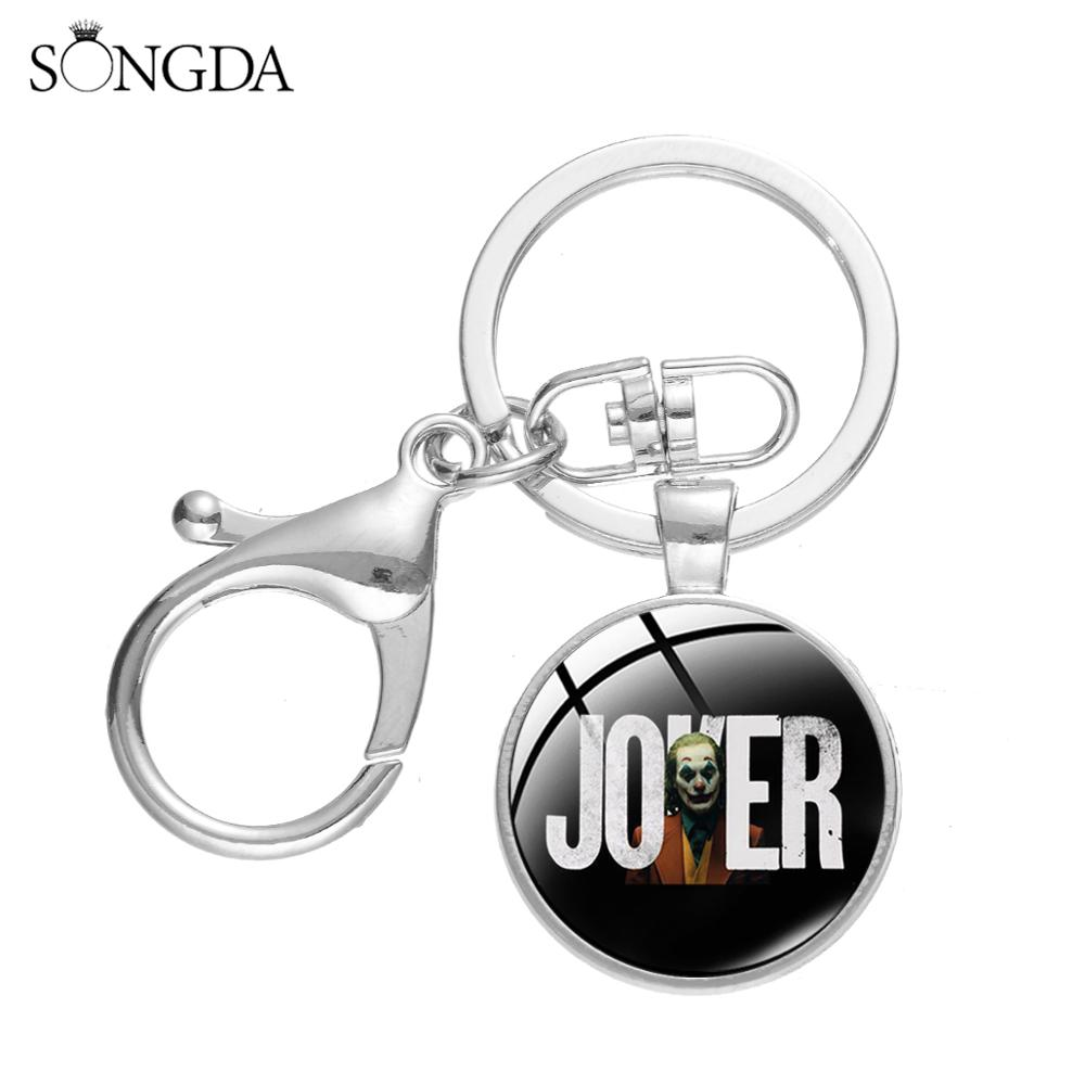 SONGDA 2019 Hot Movie Joker Periphery Keychain Punk Joaquin Phoenix The Joker Art Poster Glass Dome Pendant Key Ring Holder Gift