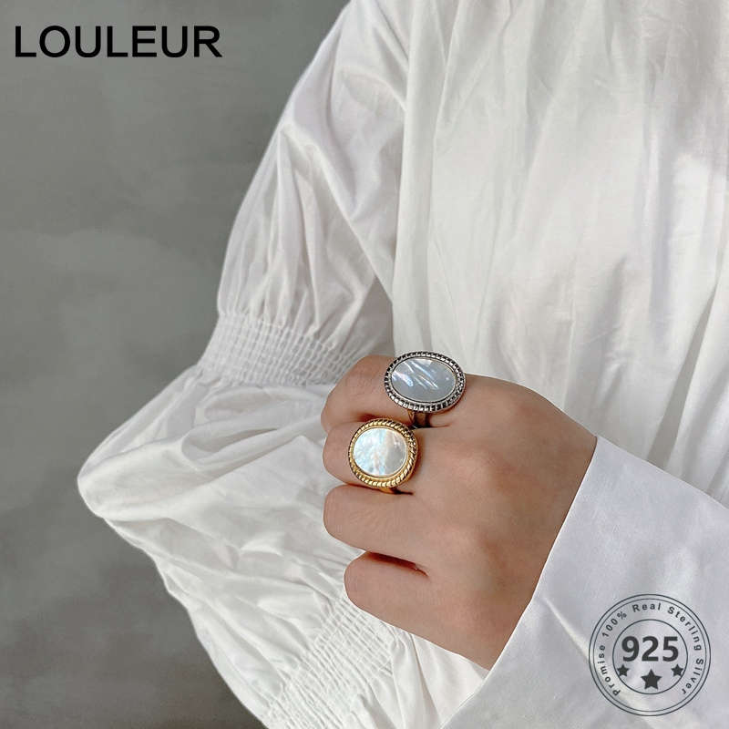 LouLeur Real 925 Silver Sterling Shell Ring Japan Korea Style Elegant Minimalist Round Rings For Women Fashion Fine Jewelry Gift