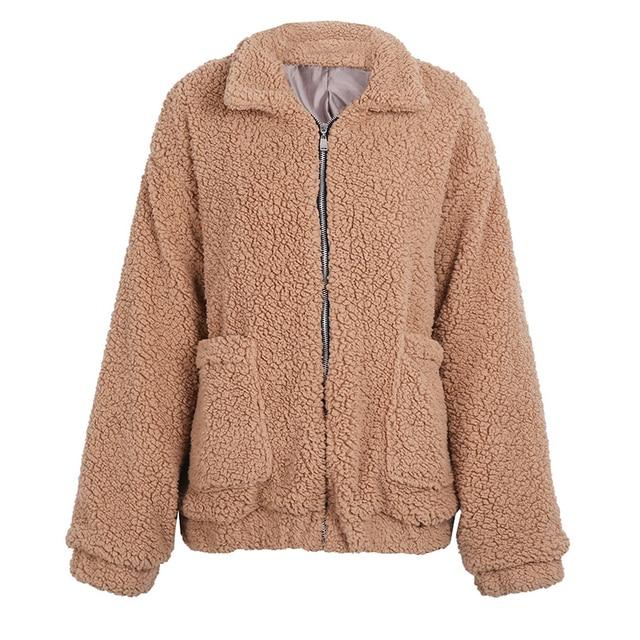 Fitaylor New Spring Women Teddy Bear Coat Stand Collar Loose Plush Jacket Zipper Solid Warm Outwear Faux Lamb Coats 6