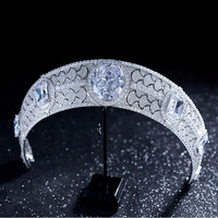 Luxury Vintage Zirconia Big Crown Princess Tiara Bride Royal Jewelry Crowns Headband Wedding Hair Accessories Headband Headpiece