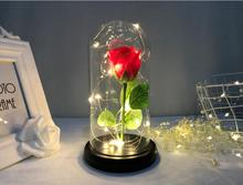 Beauty And The Beast Red Eternal Rose In Glass Dome With LED copper Light Wooden Base For Wedding Valentine'S Mother'S Day Gift