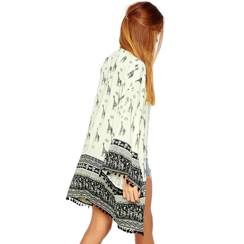 المرأة كيمونو سترة بلوزة بلايز قمصان الشاطئ التستر الزرافة نمط المطبوعة شرابة فضفاضة موضة عادية