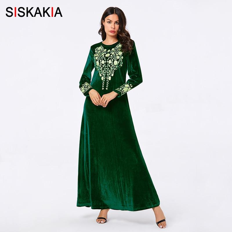 Siskakia Elegant Women Long Dress Autumn 2019 Green Velvet Floral Embroidery Muslim Casual Maxi Dresses Long Sleeve Plus Size|Dresses|   - title=