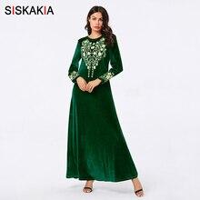Siskakia Elegant Women Long Dress Autumn 2019 Green Velvet F
