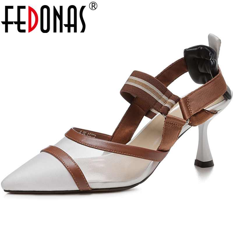 FEDONAS Newest Genuine Leather Women Shoes Sexy Pointed Toe High Heels Pumps Shallow Night Club Spring New Arrival Shoes Woman