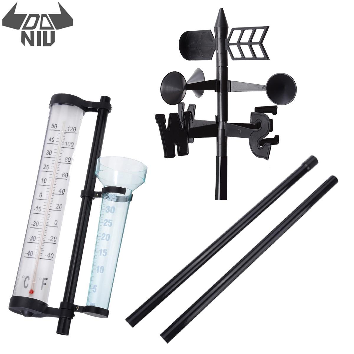DANIU Multifunction Outdoor Garden Weather Station Meteorological Measurer Vane Tool Wind Rain Gauge Temperature Instruments