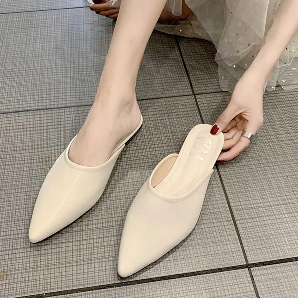KARINLUNA กระเป๋าสตางค์น้ำหนักเบา Lady Casual SLIP ON Pointed Toe รองเท้าแตะฤดูร้อนแฟชั่น INS Hot LOW Heel Mules รองเท้าผู้หญิง