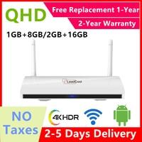 Leadcool-decodificador QHDTV con Android 9,0, dispositivo de TV inteligente, almacén francés, Quad-core8G libre de impuestos, 16 Gb, Smart Europa, internet iptv