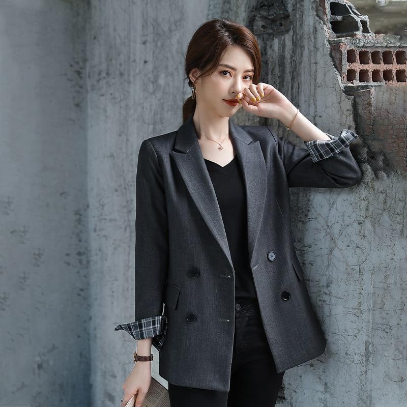 Женское пальто, осень 2019, новый темперамент, Повседневная мода, тонкий, сплошной цвет, двубортный, маленький костюм, женская рубашка