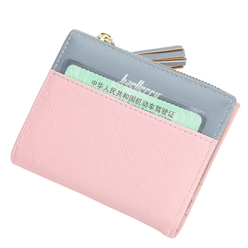 Baellerry Wallet Women Patchwork Fashion Tassel Short Wallet PU Leather Hasp Porta Handbag Note Compartment Card Holder Wallet in Wallets from Luggage Bags