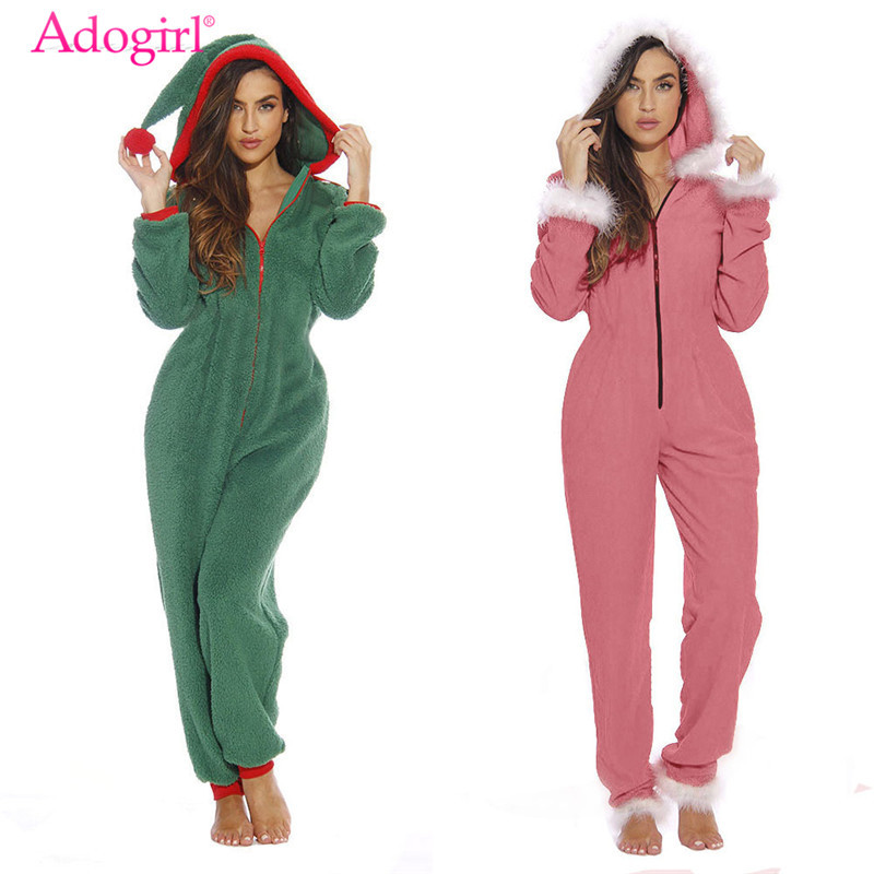 Adogirl 2019 Christmas Day Home Plush Jumpsuit Jester Hat Front Zipper Long Sleeve Casual Loose Hooded Romper Women Overalls