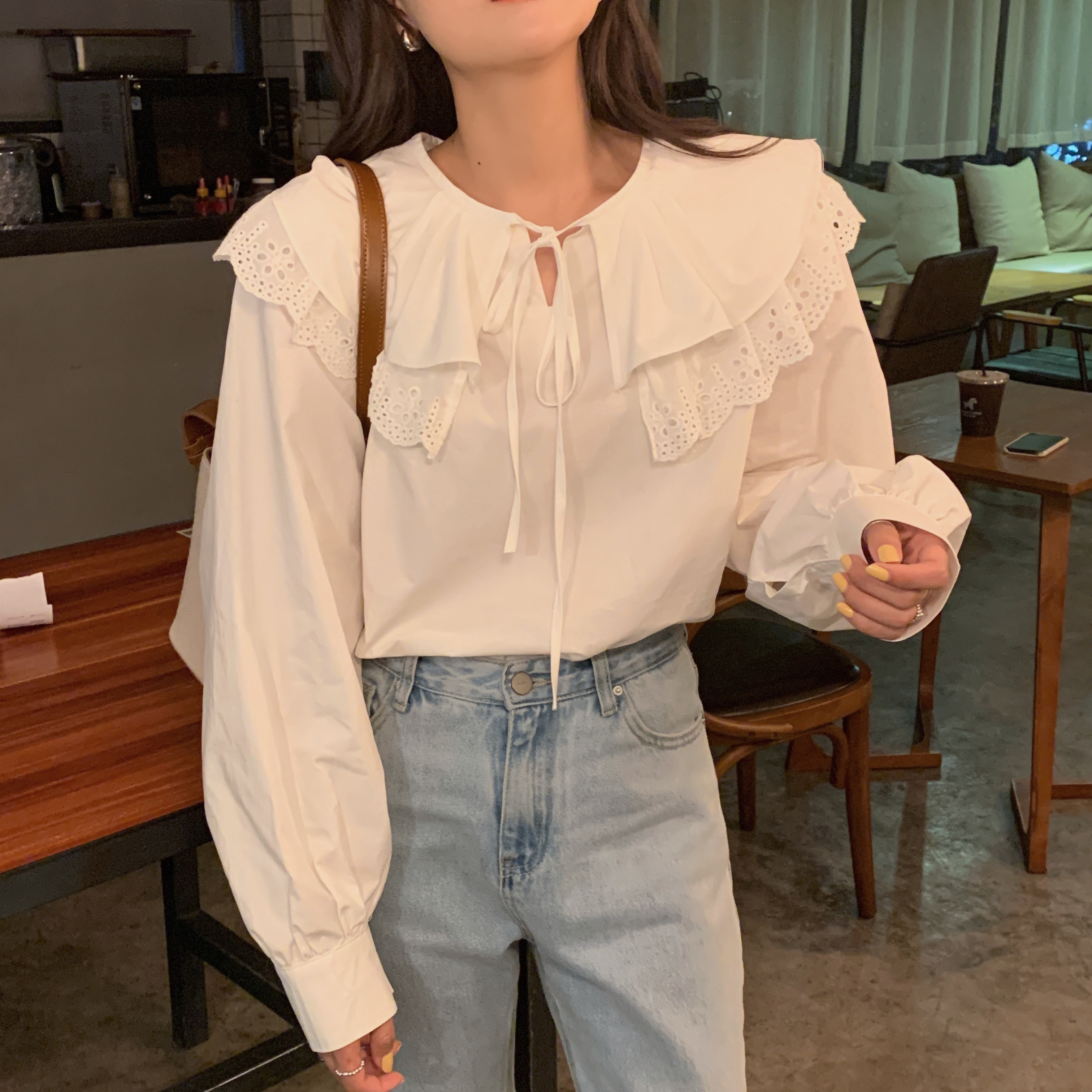 H85fbc449f74e4ebfbe05ca65cbcb936di - Spring / Autumn Korean Lace-Up Hollow Out Collar Long Sleeves Loose Solid Blouse