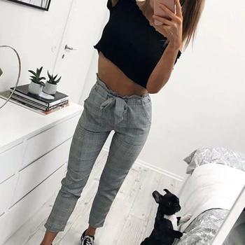 Women Fashion Plaid Pleated High Waist Skinny Pencil Pants Trousers with Sash Sporting Black Casual Streetwear 3