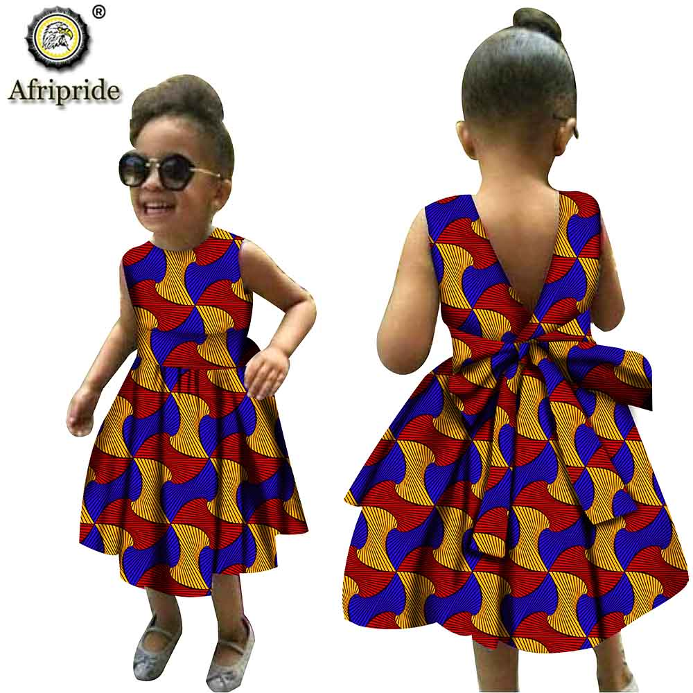 African Girl Dresses Ankara Dashiki Print Ankara Lovely Dress Casual Kids Print Clothing Attire Shirt Dress AFRIPRIDE S204003