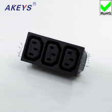 2PCS AC-102 power outlet three-in-one three-piece connected socket card embedded male and female seat nine-hole product