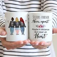 Tasse blanche personnalisée 3 sœurs pour toujours, tasses à café, cadeau pour filles, 11oz/15oz, R2056