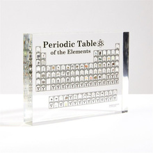 3D Real Elements Acrylic Transparent Periodic Table Display Real Element Kid Teaching School Day Birthday Gifts Chemical Element