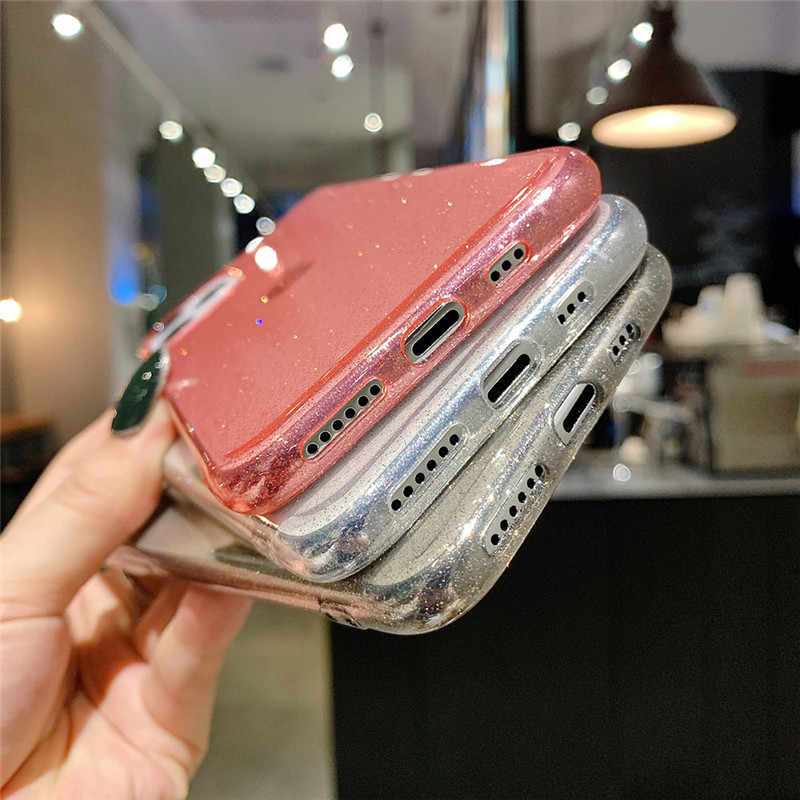 Moskado Bling Glitter carcasas transparentes para móvil para iPhone 11 11Pro Max X XR XS Max 7 7 6 6s Plus claro sólida funda trasera suave TPU