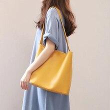 Bolso de hombro de gran capacidad para mujer, bandolera portátil, color amarillo, 2019