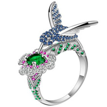 цена на New Fashion Rainbow Rhinestone Bird Crystal Rings for Women Bohemia Animal Wedding Engagement Ring Jewelry Gift
