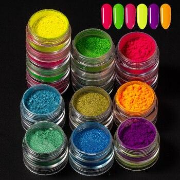 6 in 1 Neon Phosphor Pigment Powder Fluorescent Nail Glitter Acrylic Nail Art Dust Pigment Colorful Glitter Summer Shinny Powder 6 in 1 neon phosphor pigment powder fluorescent nail glitter acrylic nail art dust pigment colorful glitter summer shinny powder