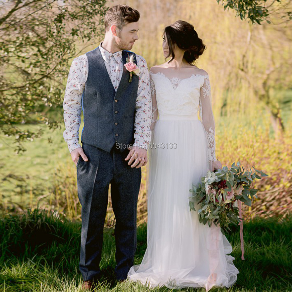 A Line Boat Neck Boho Tulle Wedding Dresses 2020 Ivory Lace Applique Long Sleeves Floor Length Country Bride Dress Buttons Back